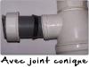 Exemple d\'étanchéité faite avec un joint conique et une portée conique.