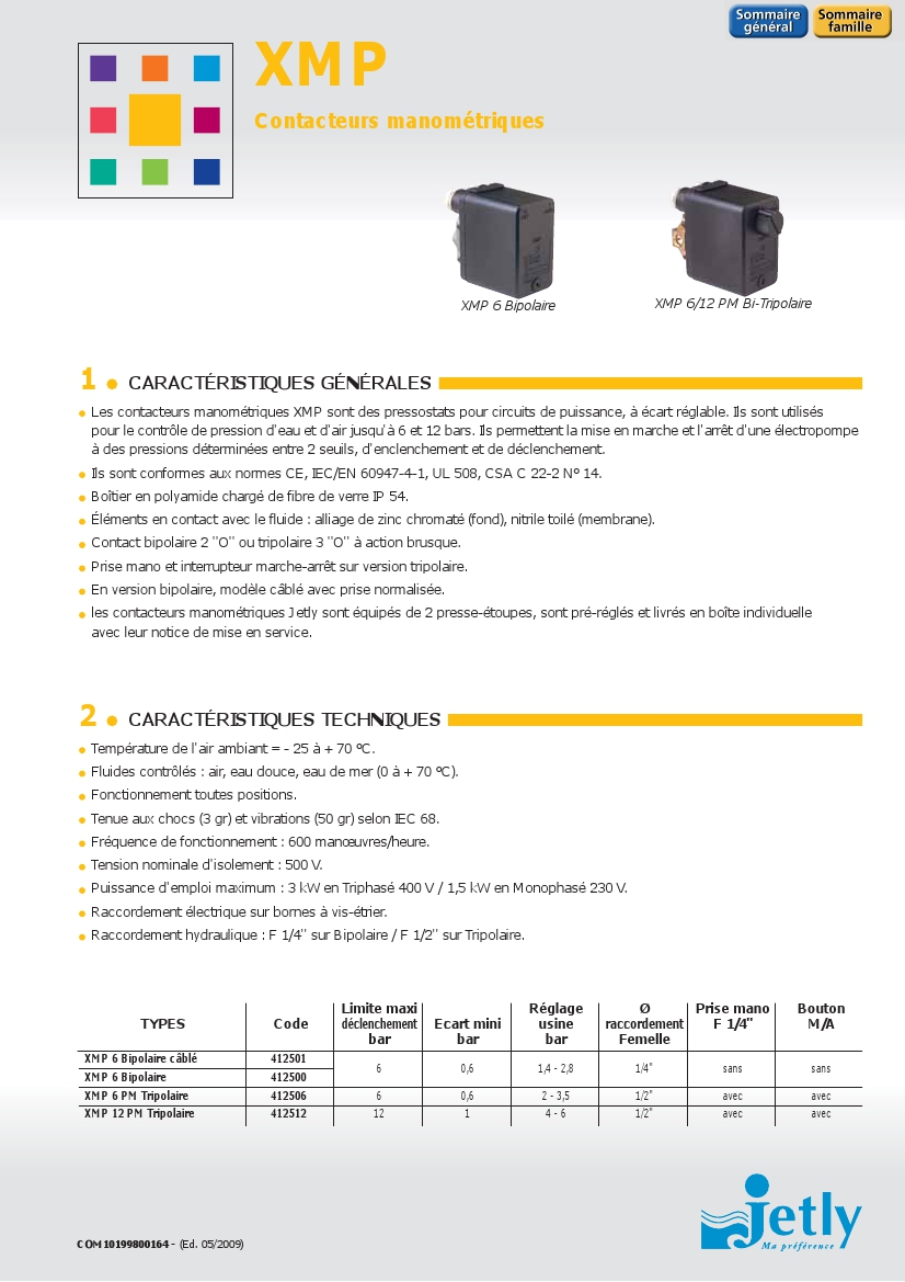 xmp contacteurs manometriques jetly 1